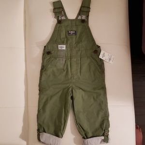 Boys Pinstriped Lined Overalls | Olive | 2T